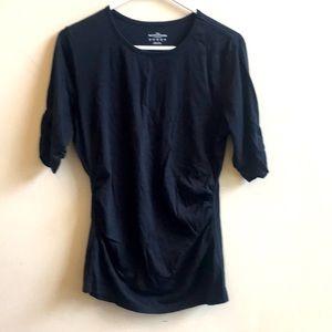 Lands End 3/4 sleeve rucched top black